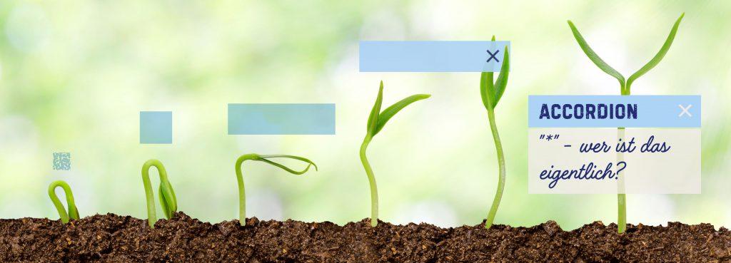Pflanzen und Accordion wachsen aus der Erde