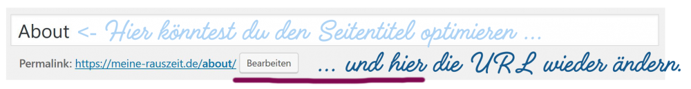 Screenshot WordPress mit Permalink